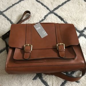 NWT Brown Leather Briefcase